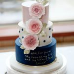 Blush Pink & Navy with Sugar Flowers