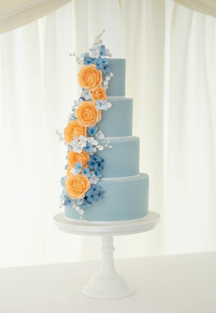 Peach & Blue Flowers