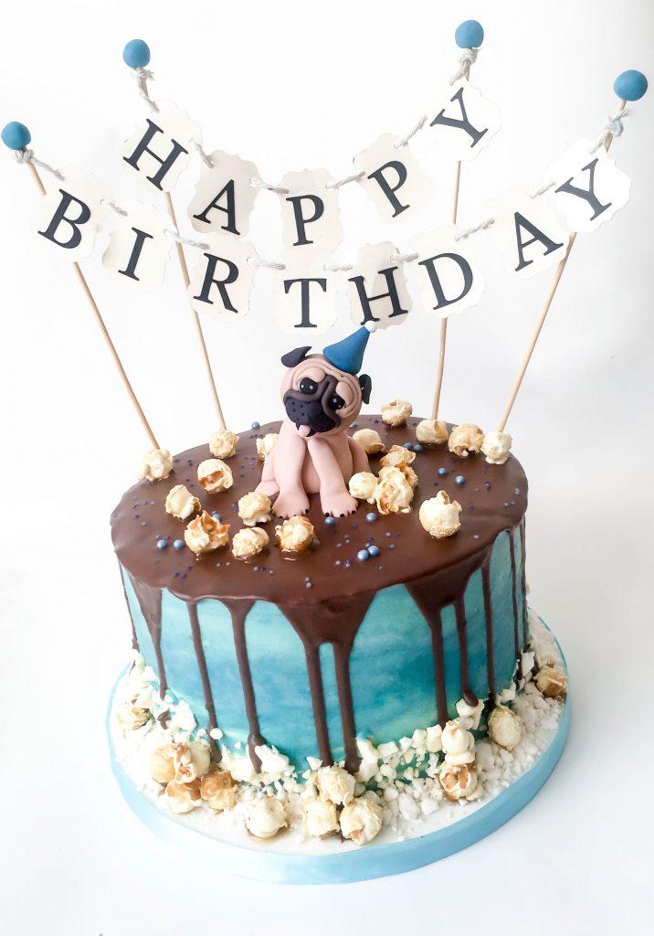 Pug Drip Cake