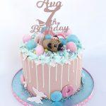 Pink pug Drip Cake