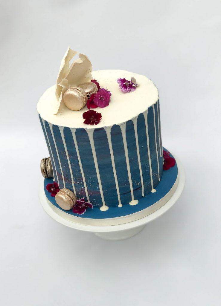 Dark Blue Drip Cake