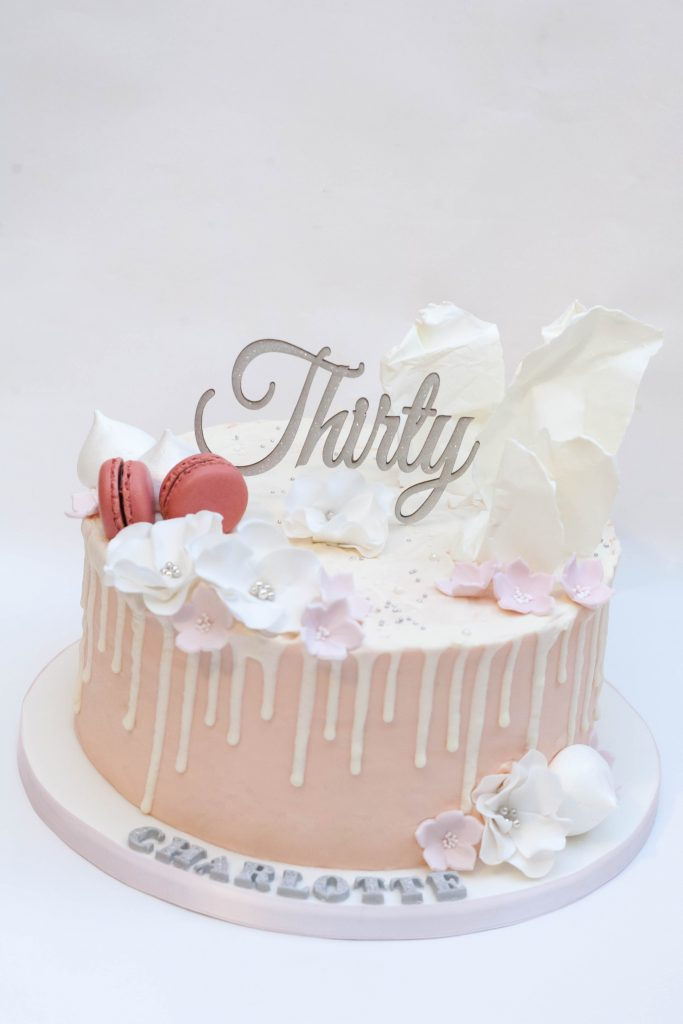 White & Pink Drip Cake