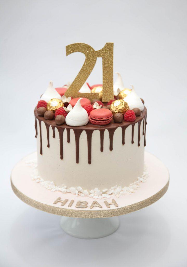Chocolate & Macarons Drip Cake