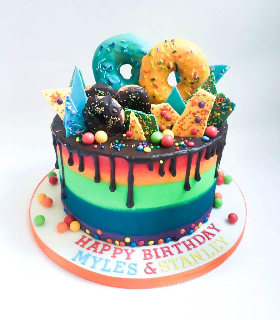 Donuts & Chocolate Drip Cake