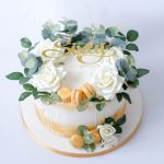 Roses and Eucalyptus Drip Cake