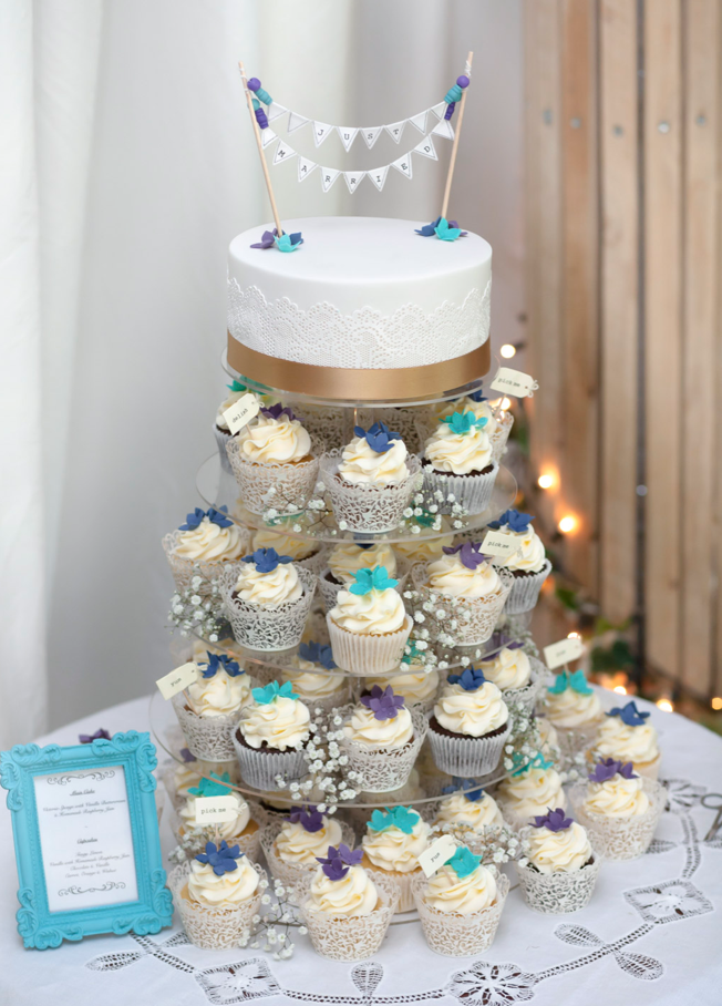 Blue Flowers Cupcake Tower