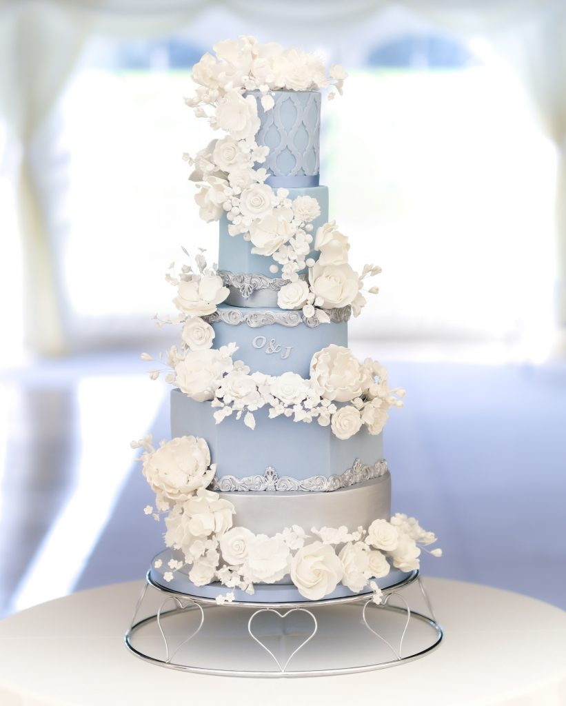 Blue and White 5 Tier