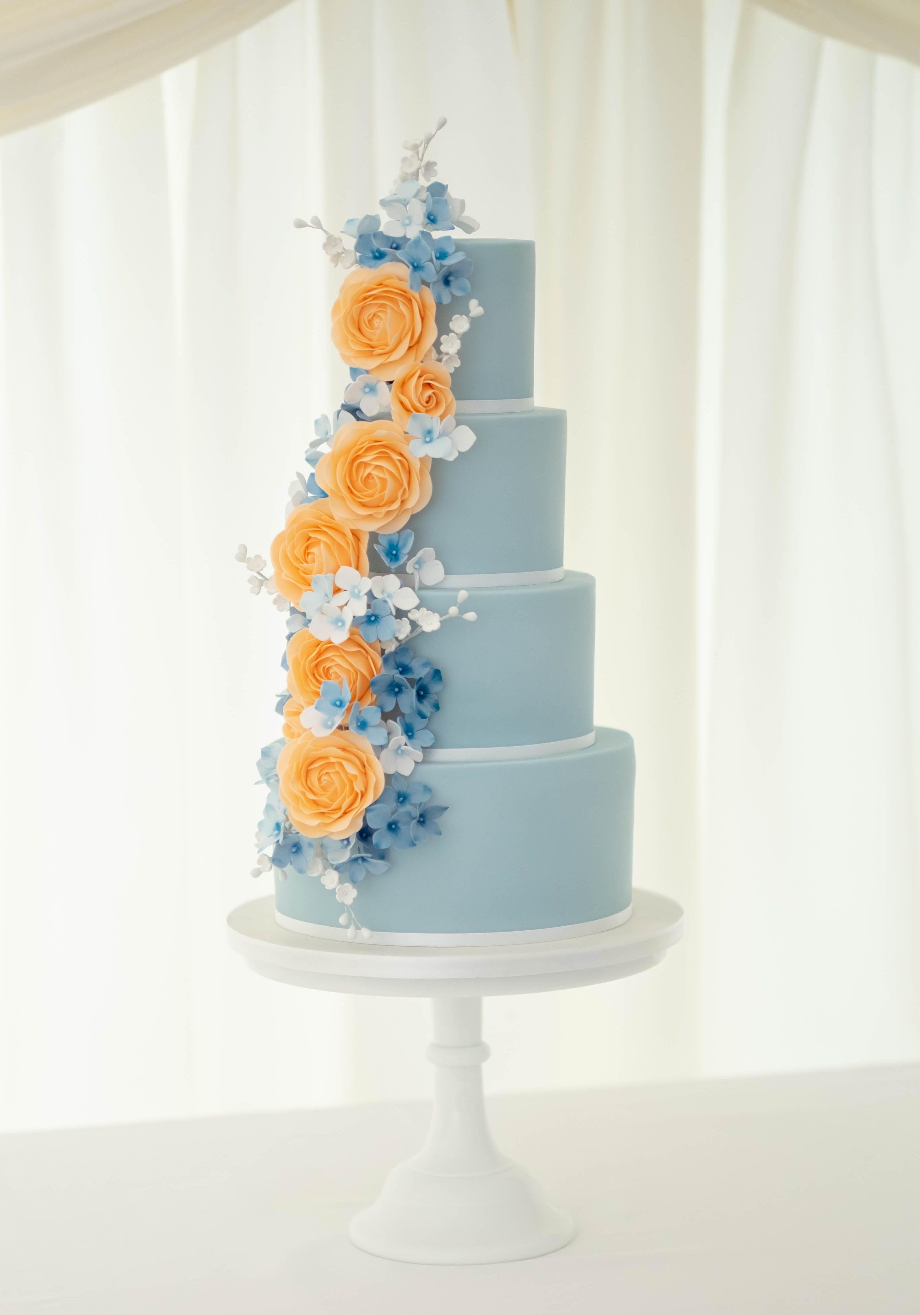 Handmade Peach & Blue Flowers